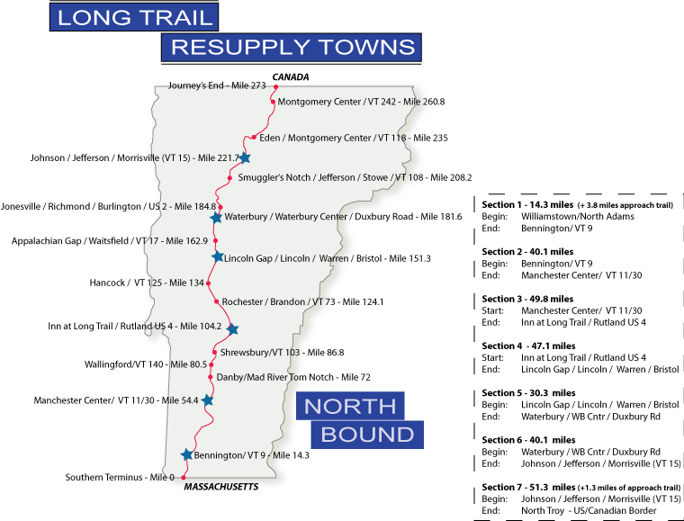 Northbound Resupply Maps - Long Trail Planning Guide - Long ...
