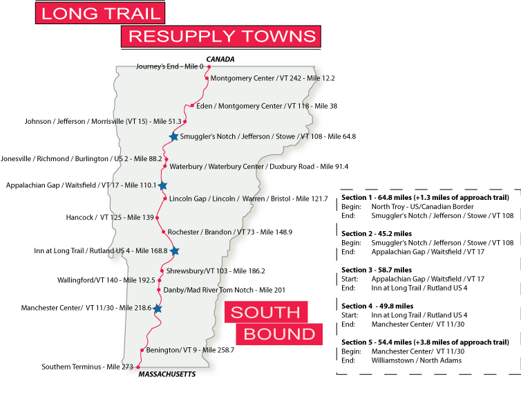 Southbound Resupply Maps - Long Trail Planning Guide - Long Trail ...