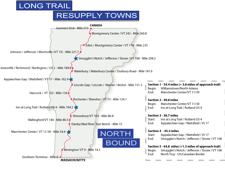 Northbound Resupply Maps - Long Trail Planning Guide - Long Trail ...